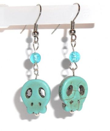 Natural Turquoise Skull Earrings (Coloured)